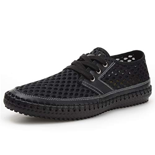 Odema Men's Mesh Walking Loafers Casual Hiking Water Shoes Black