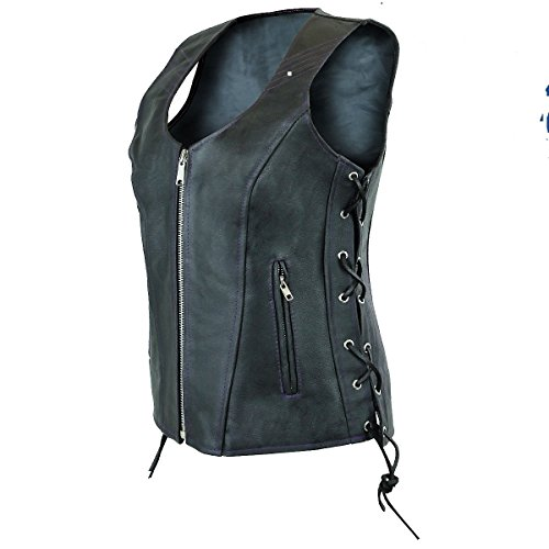 Ladies womens solid soft leather biker motorcycle vest black concealed carry (4XL, Black)