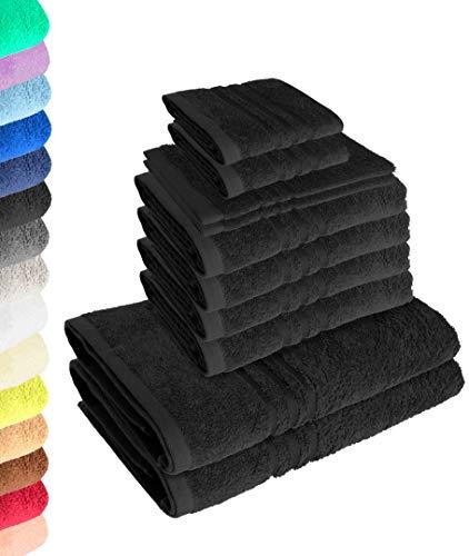 Lavea 10-teiliges Handtuchset Elena - Schwarz, 4 x Handtuch, 2 x Duschtuch, 2 x Gästetuch, 2 x Waschhandschuh, 100% Baumwolle