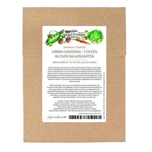 Huertos urbanos - Set de semillas con 6 sencillas variedades de hortalizas para el pequeño huerto de balcón