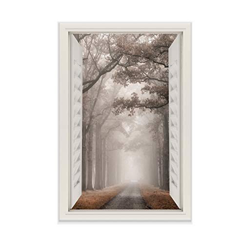 Renditions Gallery View of Misty Road Open Window Gallery Wrapped Canvas Wall Art, 24x36