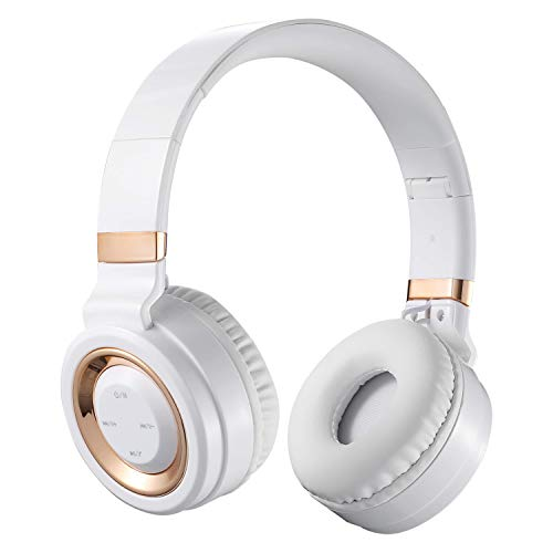 Volkano 40mm Driver Bluetooth Wireless Hands-Free Folding Headphones, Audífonos Inalámbricos 15 Hours Playtime, Padded Foam Earcups, SD Card Reader w/Built-in FM Radio [White/Gold] - Lunar Series