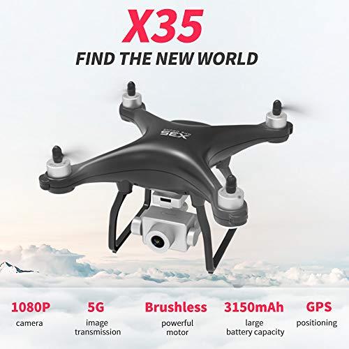 Benkeg Drone con cámara RC Drone X35 RC Drone con cámara 1080P Cámara 5G WiFi Drone sin escobillas 26min Tiempo de Vuelo GPS Sígueme Waypoint Vuelo RC Quadcopter 3 Baterías