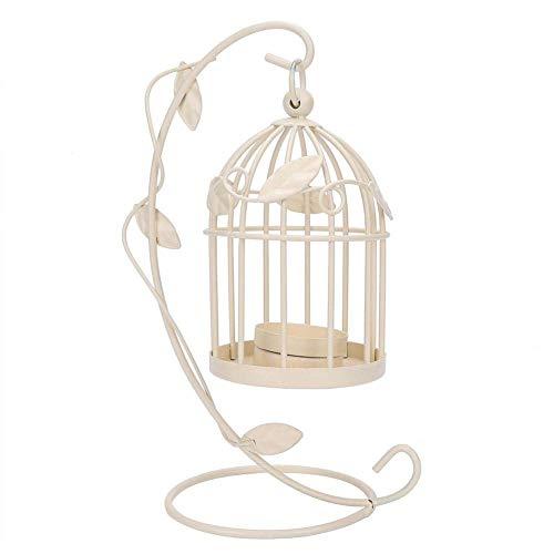 HERCHR Lanterna a Candela, portacandele per Candele a pilastro Portacandele Vuoti appesi a Gabbia per Uccelli Lanterna per Matrimoni(Bianca)