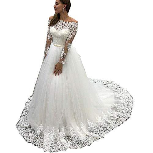 Liliesdresses Women's Ball Gown Wedding Dress Off The Shoulder Long Sleeve Wedding Dresses White,8