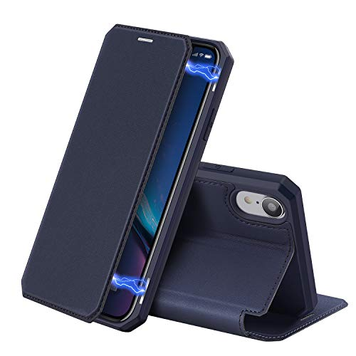 DUX DUCIS Hülle für iPhone XR, Premium Leder Magnetic Closure Flip Schutzhülle handyhülle für Apple iPhone XR Tasche (Blau)