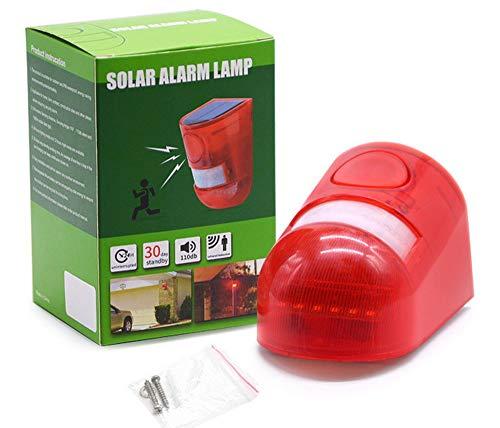 Sunny ソーラー充電式防犯アラーム 警告灯 赤色フラッシュ ソーラー充電式 110db大音量警報 ブザー 赤いライト点滅警報 防水仕様 農場動物被害に 野外 倉庫 車庫の防犯に