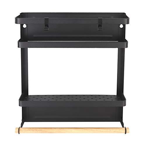 Organisateur de réfrigérateur magnétique, étagère de réfrigérateur pliable robuste de 32x27x7.8cm étagère à épices magnétique de réfrigérateur mural multifonctionnel pour le stockage domestique(Noir)