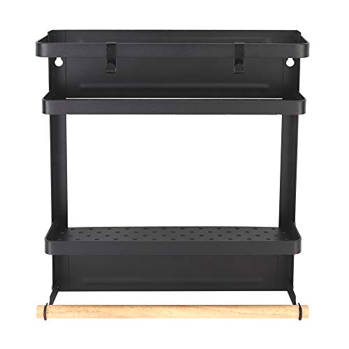Slijtvast Huishoudelijk Multi-Functionele Opvouwbare Magneet Koelkast Rack Opvouwbaar Opknoping Opslag Rack Zwart