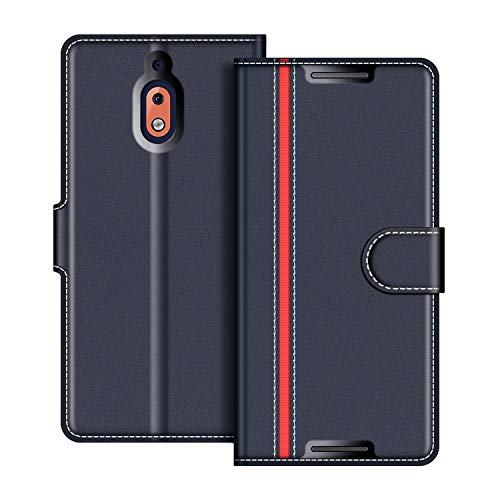 COODIO Handyhülle für Nokia 2.1 Handy Hülle, Nokia 2.1 Hülle Leder Handytasche für Nokia 2.1 Klapphülle Tasche, Dunkel Blau/Rot