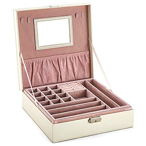 Two-Layer Lint Jewelry Box Makeup Mirror Organizer Display Storage Case with Lock (White)