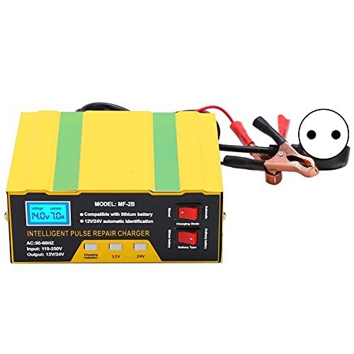 Eosnow Cargador de batería Completamente Inteligente, Cargador de batería ignífugo de Baja Resistencia de 180 W de Potencia de Trabajo para automóvil y Motocicleta(European regulations, Pink)