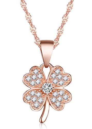 Unendlich U Glücklich Vierblättriges Kleeblatt Damen Halskette 925 Sterling Silber Zirkonia Anhänger Kette mit Anhänger, Rosegold
