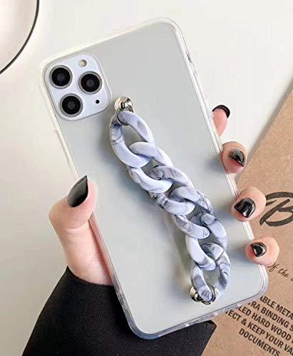 FYMIJJ Marble Wristband Chain Clear Phone Case para iPhone 12 11PRO X XR XS MAX 6S 7 8 Plus Funda de Moda de Lujo Suave para Samsung S8,1, para Samsung S8
