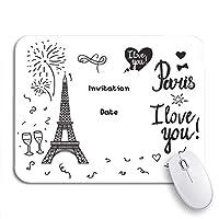 ROSECNY 可愛いマウスパッド バレンタインデー黒エッフェル塔碑文パリ私はノートパソコン、マウスマット用ノンスリップラバーバッキングマウスパッドが大好き