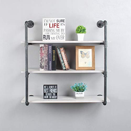 LENGEN Industrial Floating Shelves Wall Mount,36in Rustic Pipe Wall Shelf,3-Tiers Wall Mount Bookshelf,DIY Storage Shelving Floating Shelves,Wall Shelving Unit,Wall Book Shelf for Home,Vintage White