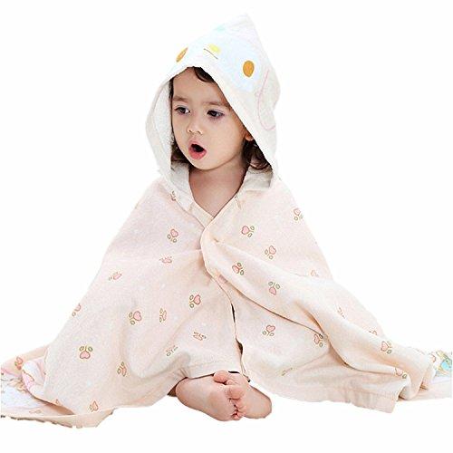 Serviette de bain bebe, Chickwin Cute Animal 100% coton naturel Wrap Gant de toilette doux pour bébé douche après bain Cuddle 'n sec, grand 60 * 120 cm Taille (Beige)