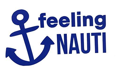 Custom Vinyl Feelin Nauti Boat Anchor Decal, Nautical Love Bumper Sticker, for Tumblers, Laptops, Car Windows