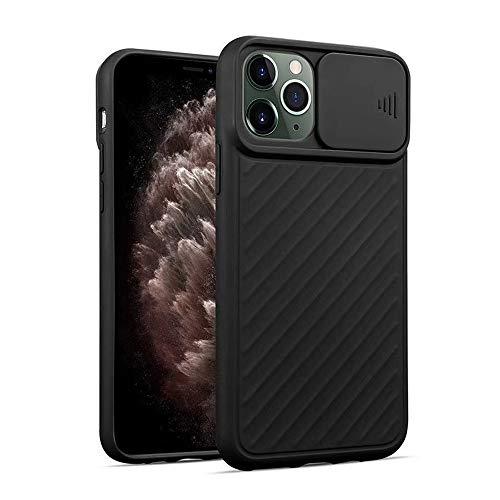 LIMITED Funda Protectora para cámara con Tapa para iPhone 11 11Pro X XR XS MAX 7 6 6S 8 Plus Funda Trasera con Textura de Silicona Suave (Negro,For iPhone 11 Pro)