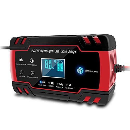 CUIJU Cargador de batería de Coche 12V/24V Cargador de batería automático con Pantalla LCD, Cargador de batería automático de 3 etapas (Rojo)