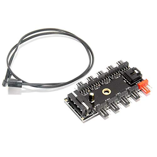 QiKun-Home SATA Computer Fan Hub 4Pin PWM Hub Ventilador de PC Grande 4Pin Fuente de alimentación Adaptador Divisor Soporte 10 Canales Ventilador Instalación fácil Negro
