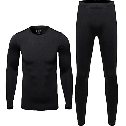 Men Thermal Underwear Set - Winter Thermal Long Johns Mens Warm Top and Bottom Set Black