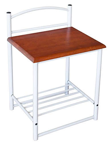 PEGANE Table de Chevet en Bois et métal, Coloris Blanc et Brun - Dim : H 64 x L 40 x P 33cm