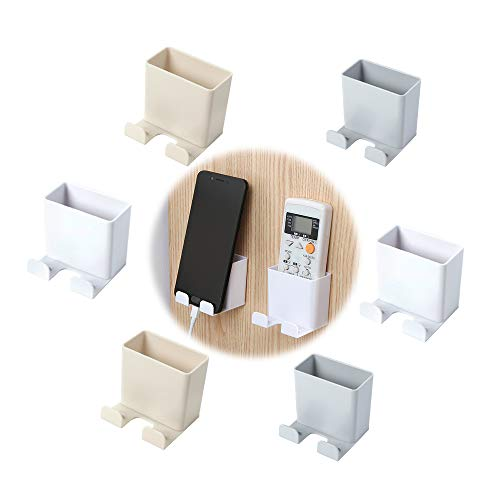 6 PCS Supporto Telefono Cellulare a Parete, Mini Scatola di immagazzinaggio, Scatola Porta Cellulare a Muro, ABS Scatola per Organizzatore a Parete con Gancio, Scatola Immagazzinaggio del Telecomando