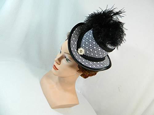 Midi Damen Zylinder schwarz weiß Damenhut Ausgehhut Huetchen Kopf-Schmuck