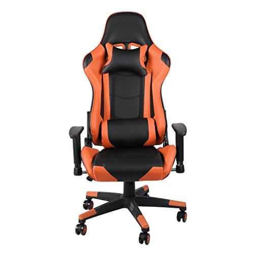 Blackpoolal Gaming Chair, Bürostuhl mit Fußstütze, Drehbarer Schreibtischstuhl mit Kopfstütze, Lendenkissen, höhenverstellbar, ergonomisch, Tragfähigkeit 150 kg, 90-135 ° Neigung (Orange) (Orange)