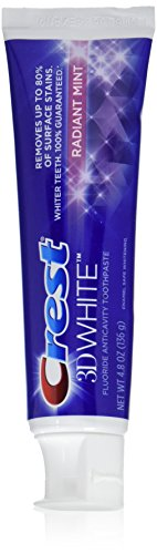 Crest 3D White Radiant Mint Whitening Toothpaste, 4.8 oz,2 Count