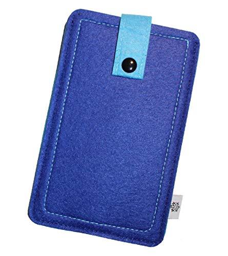 Dealbude24 Filz-Tasche passend für Blackview P2, Hochwertige Handy-hülle, Schutz-Tasche mit Herausziehband & Drucknopf, Etui stoßfest, weich & reißfest in Blau - XL