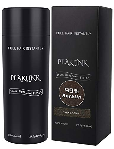 Hair Fibers for Thinning Hair - 100% Undetectable Natural keratin Formula - Instantly Thickens for Men & Women, Completely Conceals Hair Loss - Hair Loss Concealer 0.97oz(27.5g) (Dark Brown)