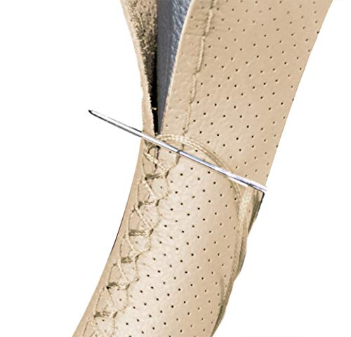 Vintree Cubierta de Volante de Cuero de Microfibra Negro Bricolaje Cubiertas del volante en el volante del automóvil con aguja e hilo Accesorios de interior Coche Fundas Para Volante Comodidad (beige)