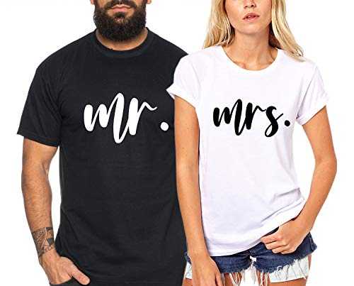 mr. mrs. - Partner-T-Shirt Damen und Herren - 2 Stück - Couple-Shirt Geschenk Set für Verliebte - Partner-Geschenke - Bestes Geburtstagsgeschenk - Partnerlook