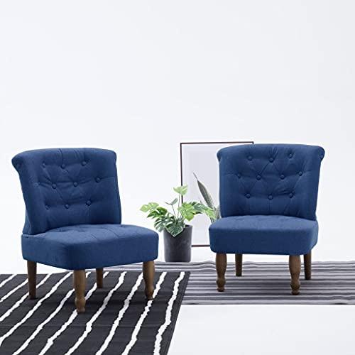 SKM Poltrona in Stile Francese Blu in Tessuto