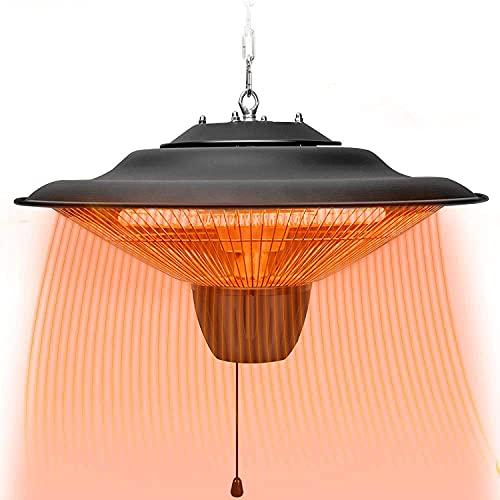 ESGT 2500W Industry Electric Hanging Heater, Ceiling Patio Heater,Indoor/Outdoor Halogen Heater, with Adjustable Hook Chain Black Aluminium Frameion Heater