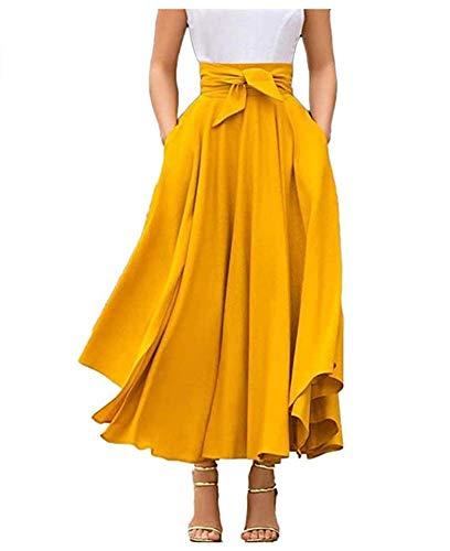 Jupe Plissée Taille Haute Maxi Jupe Longue Femme A-Ligne Elégante Irrégulière Vintage Retro Swing (Jaune, XL)