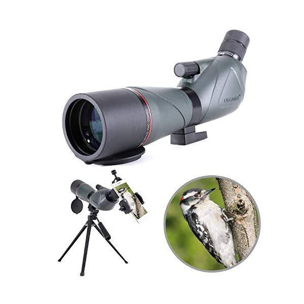 Spotting Scope 20-60X80 Waterproof Birdwatching Monocular Telescope HD with Phone Adapter + Tripod for Archery, Safari Sightseeing, Stargazing, Camping