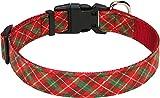 Taglory Collari per Cani di Natale, Collare Cane Regolabile per Cani di Grande Taglia, Plaid Rossa & Verde