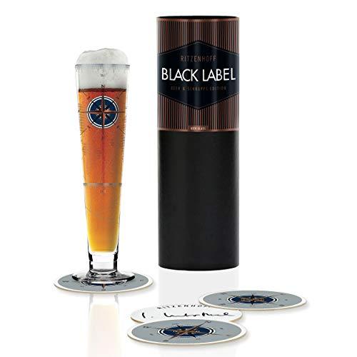 RITZENHOFF Black Label Bierglas von Iris Inthertal, aus Kristallglas, 300 ml, mit fünf Bierdeckeln