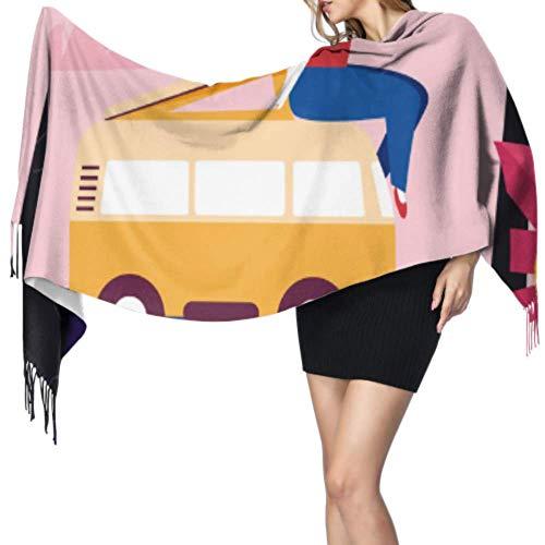 Buntes Cartoon-Motiv, niedliches Design, für Mädchen, leicht, 196 x 68 cm, groß, weich, extra warm