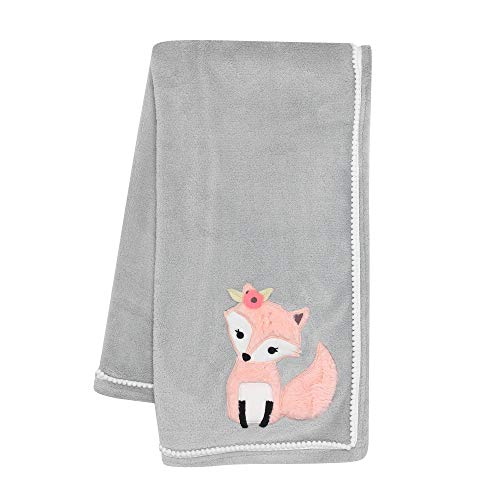 Lambs & Ivy Friendship Tree Gray/Pink Woodland Fox Baby Blanket