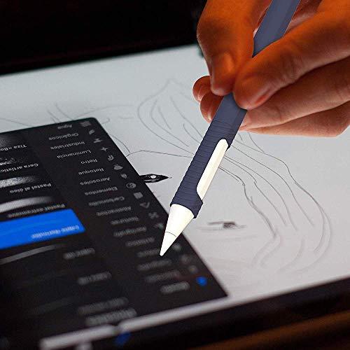 『Oumino Apple Pencil 2 ケース アップルペンシル 第2世代 カバー iPad Pro 11/12.9 ペンシル 適用 令和 シリコン ケース ペンホルダー 全面保護 紛失 落下防止 耐衝撃 軽量 超薄 充電可能 贈り物 (紺)』の2枚目の画像