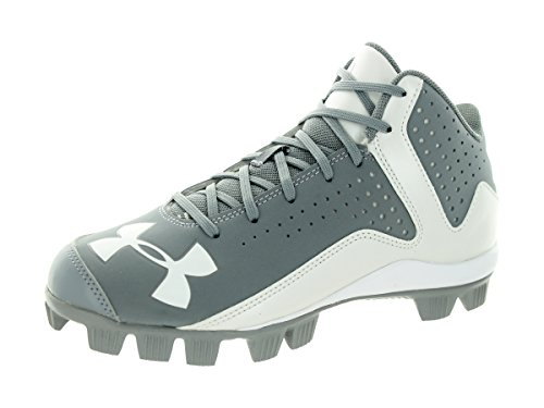 Under Armour Boy's Leadoff Mid RM Baseball Cleats Baseball Gray/White Size 3 M US