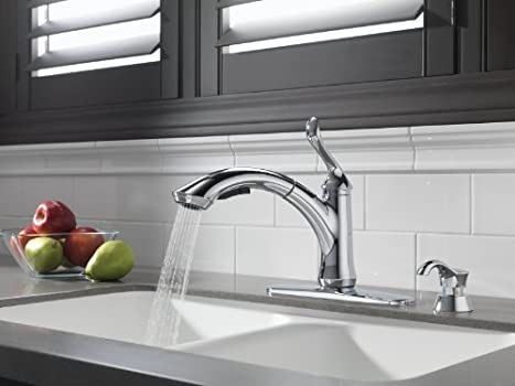 delta linden single handle faucet)