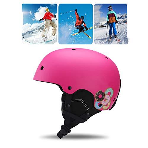 Qinsir Unisexe Enfants Casque Snowboard,Casque De Ski De Course Casque Sécurité Anti Chocs Tête Oreille en ABS + EVA pour Kayak Canoë Snowboard Skate Ski Surf,Rose,S(48·54CM)