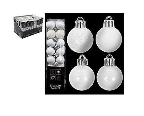 Toyland Confezione da 32-3.5cm Bianco Baubles Albero di Natale - Matita Lucida e Glitter Design - Decorazioni Natalizie