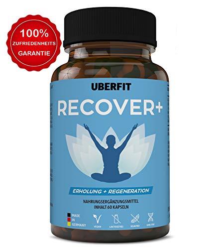 UberFit RECOVER+ Natürlicher Schlafoptimierer & Regeneration Komplex - Einschlafhilfe mit Glycin, Passionsblumen-, Grüntee-, Schwarzer Pfeffer Extrakt, Magnesium - 60 Kapseln Vegan