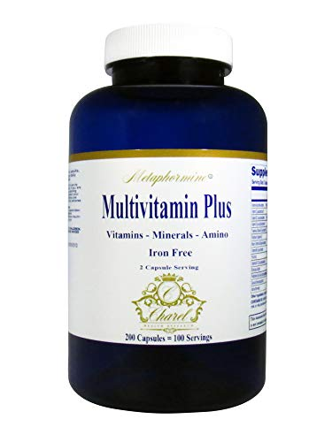 Metaphormine Adult Multivitamin Plus Amino Acid Supplements- Daily Vitamins for Men & Women - Iron Free - Perfect for Adults Energy & Senior Vitality - 200 Capsules (100 Day Supply)